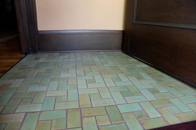 craftsman green entry floor craftsman