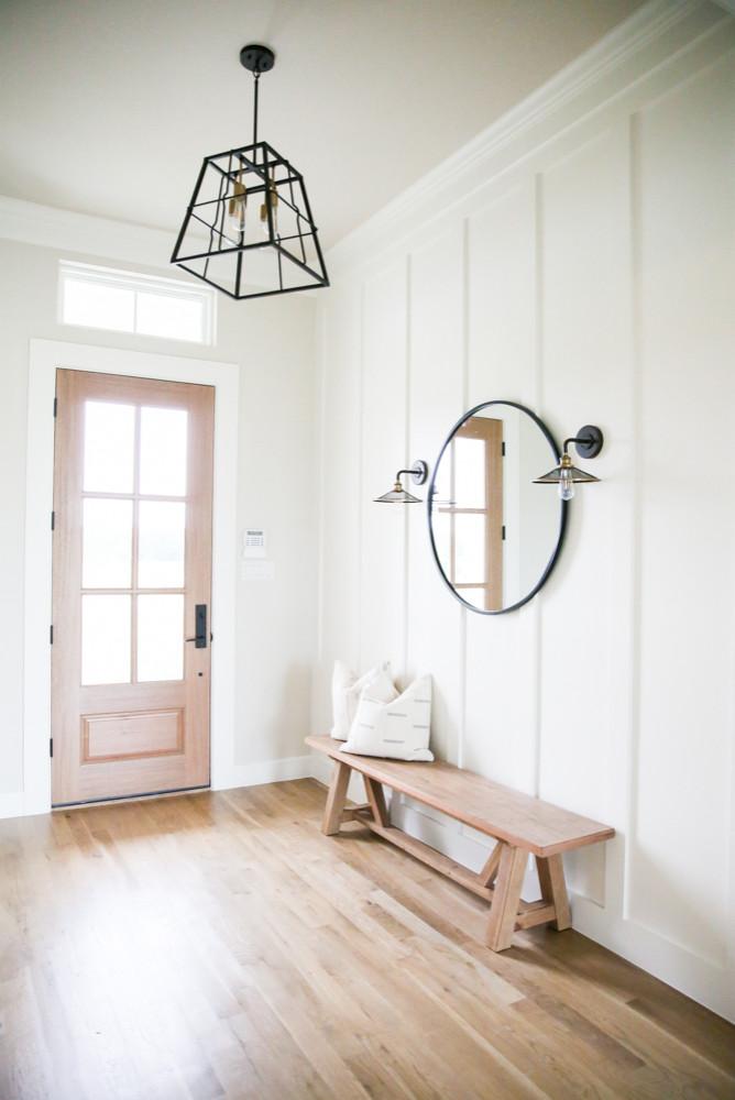farmhouse light wood floor entryway