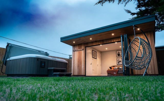 Bespoke Summer House And Landscaping Project Manningtree Essex Modern Garden Shed And Building Essex By John O Connell Building Solutions Houzz Uk