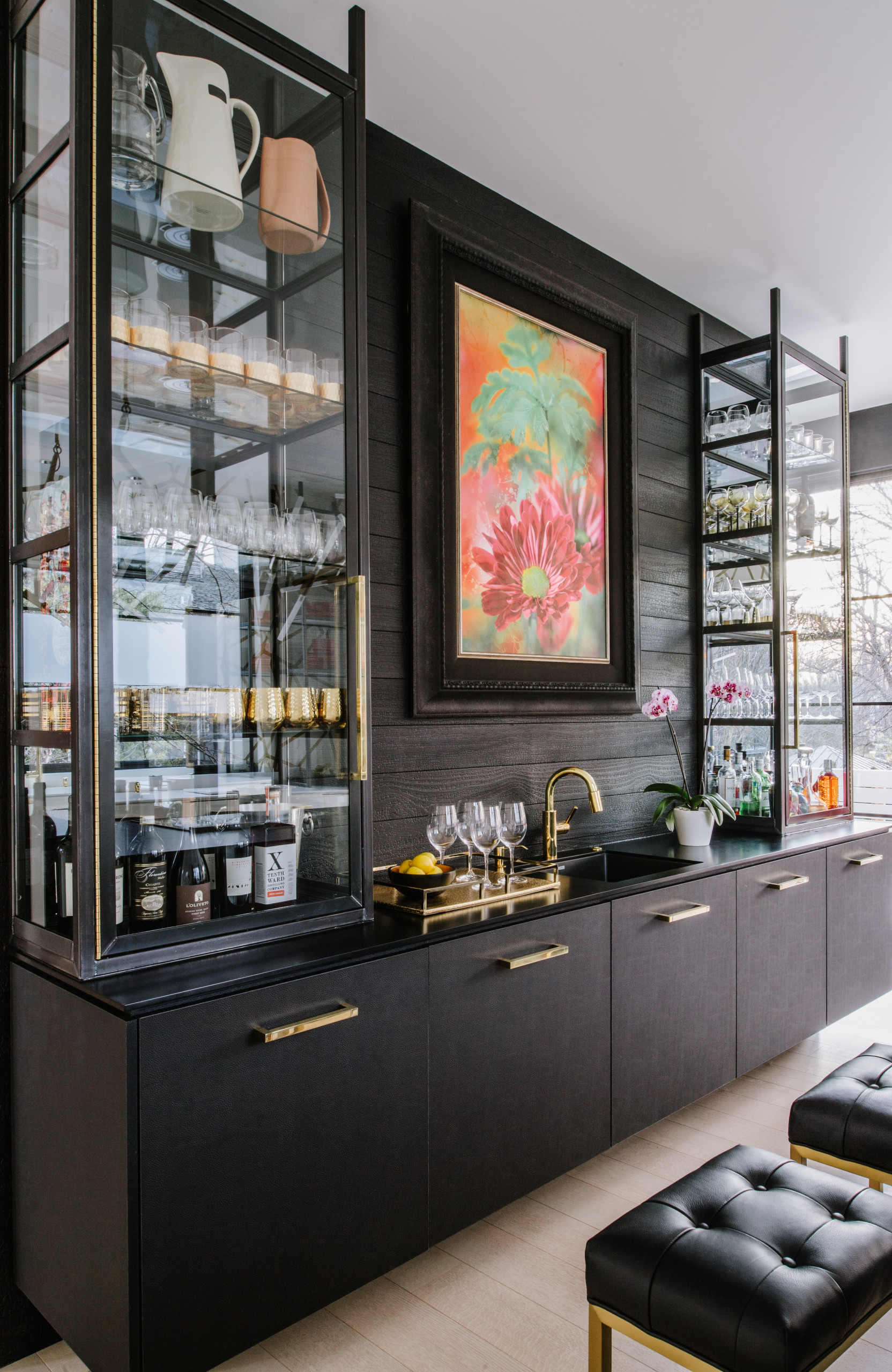 home bar with an integrated sink