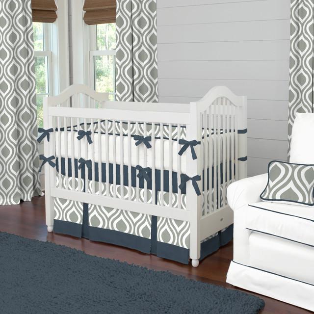 gray and navy raindrops crib bedding