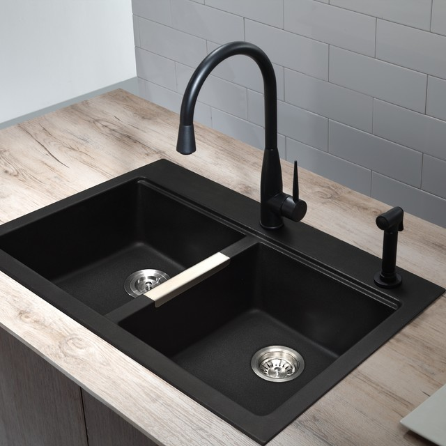 black sink and faucet modern