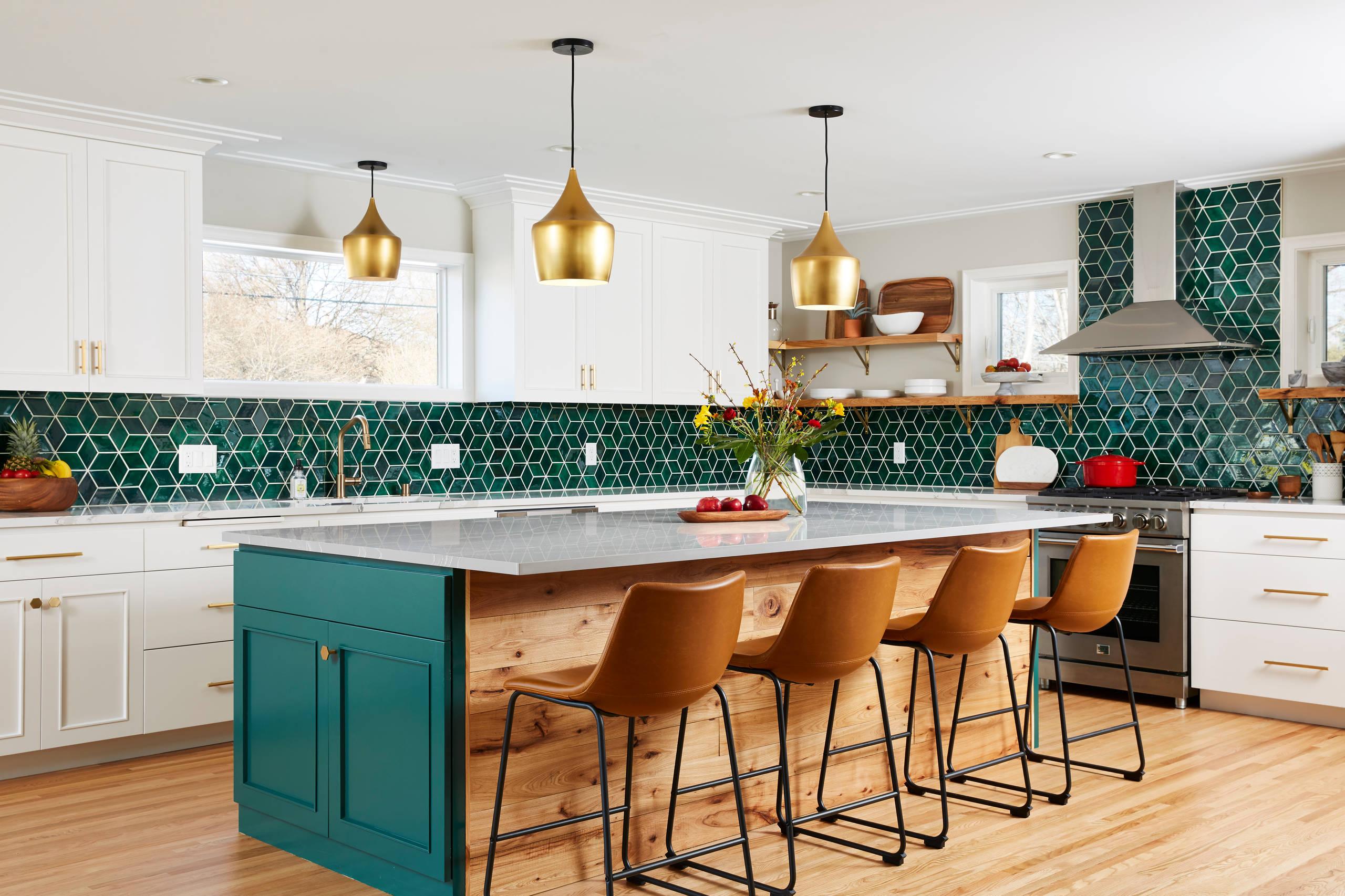 kitchen with green backsplash pictures
