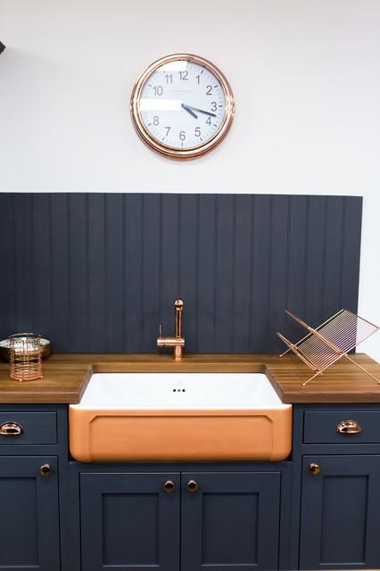 Dark Grey Copper Shaker Kitchen Transitional Kitchen Essex By Broadway Bespoke Kitchens Houzz Uk
