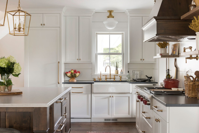 Kitchen And Butler S Pantry In White Wood And Blue