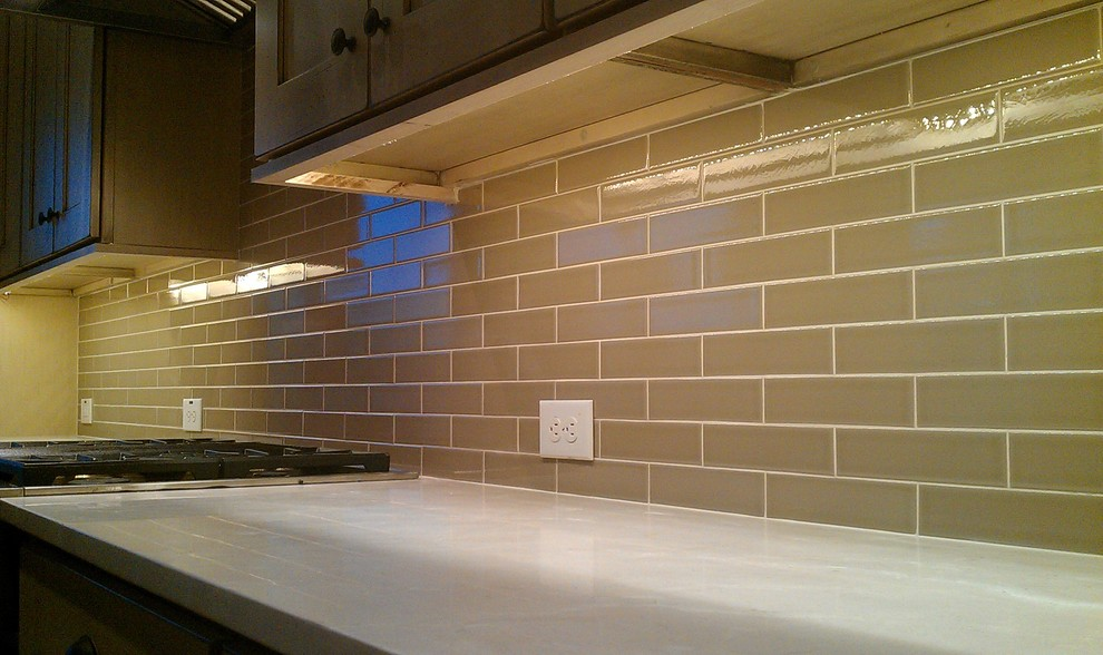 olive crackle contemporary kitchen
