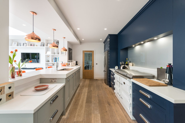 Kitchen In Navy White And Grey With Orange And Copper Accents Contemporary Kitchen Edinburgh By Christopher Howard Houzz Uk