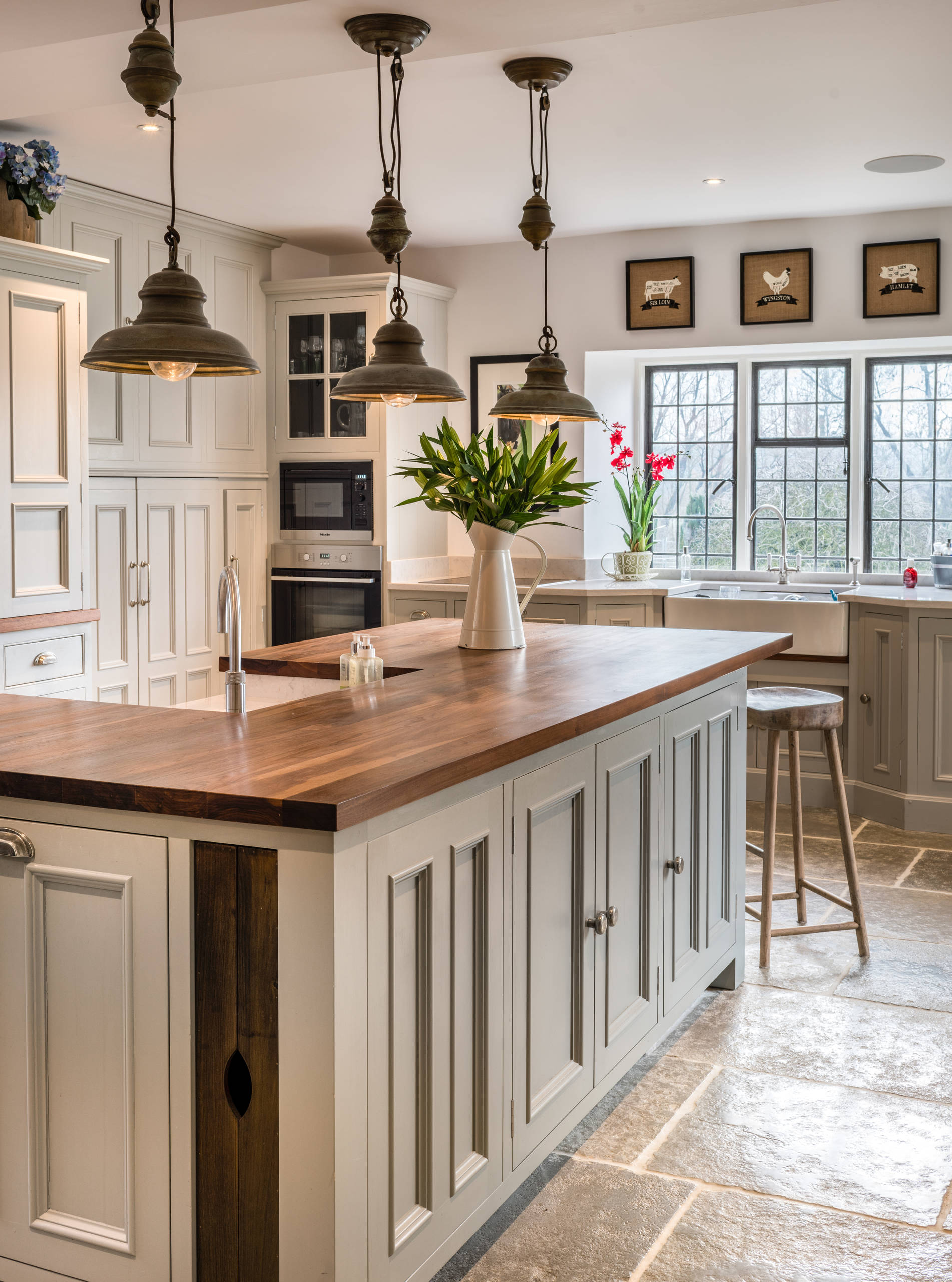 farmhouse kitchen with wood countertops