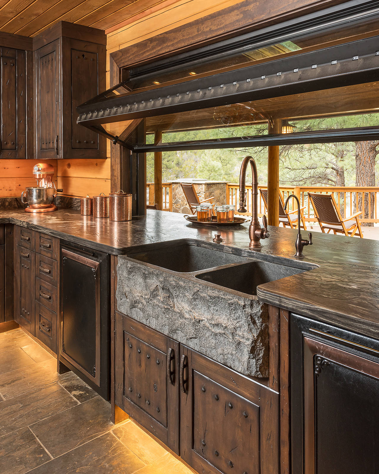 75 beautiful rustic slate floor kitchen
