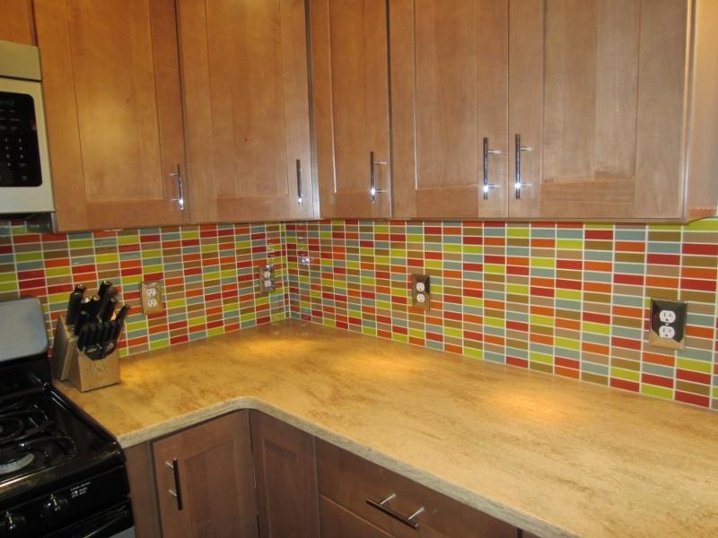 retro mosaic backsplash contemporary
