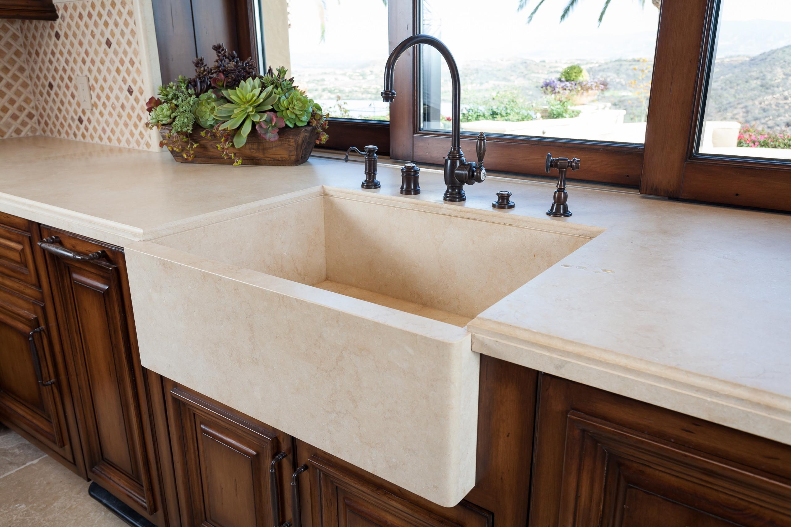 stone farmhouse kitchen sink