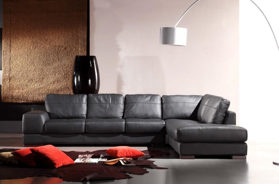 black leather sectional sofa in genuine