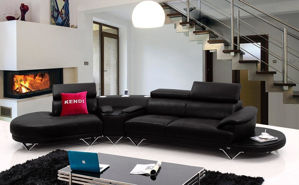 black leather sectional sofa with cup