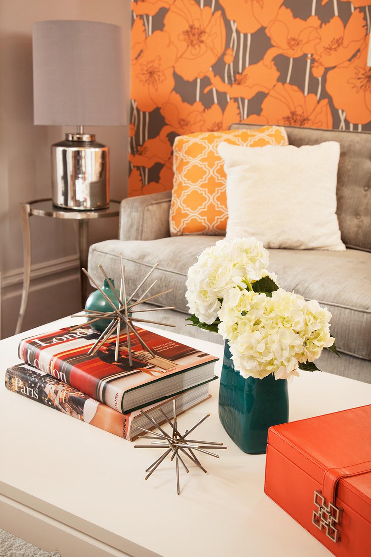 Gray And Orange Living Room Houzz