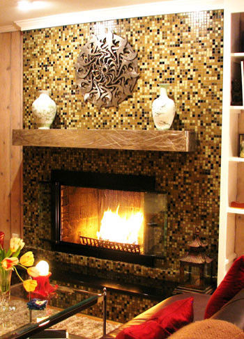 mosaic tile fireplace surround houzz