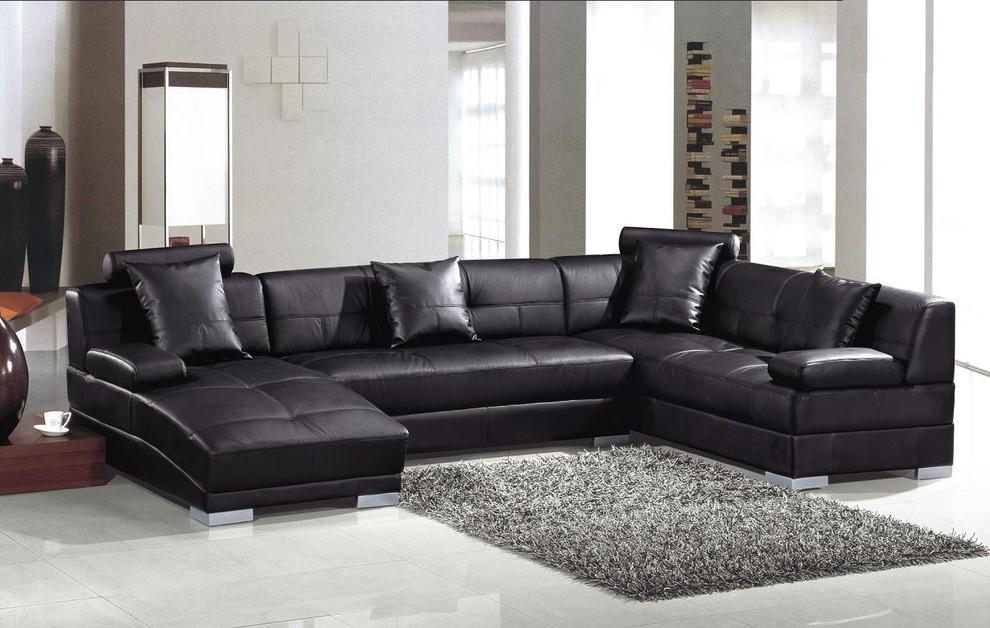 black leather u shape sectional sofa