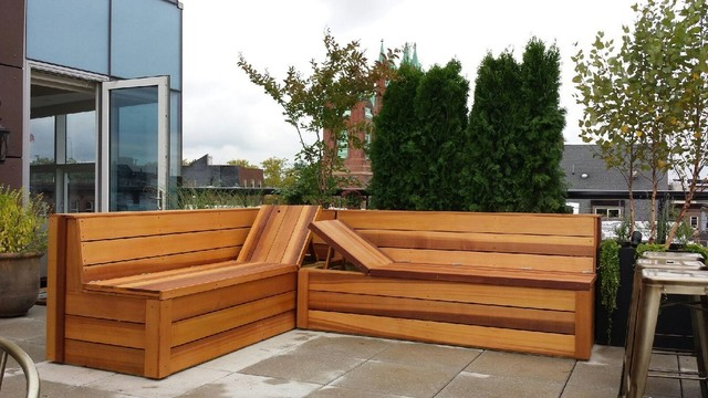 clear cedar bench seating with