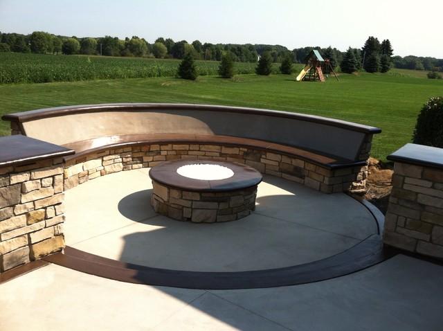 custom concrete seating bench around