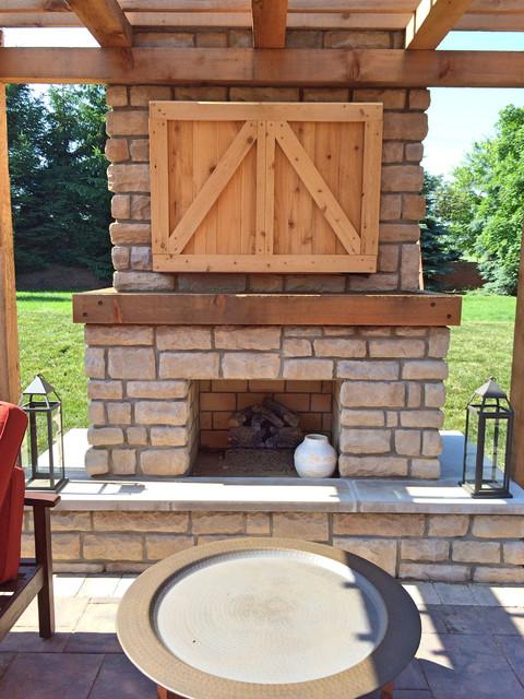 farmhouse outdoor fireplace with custom