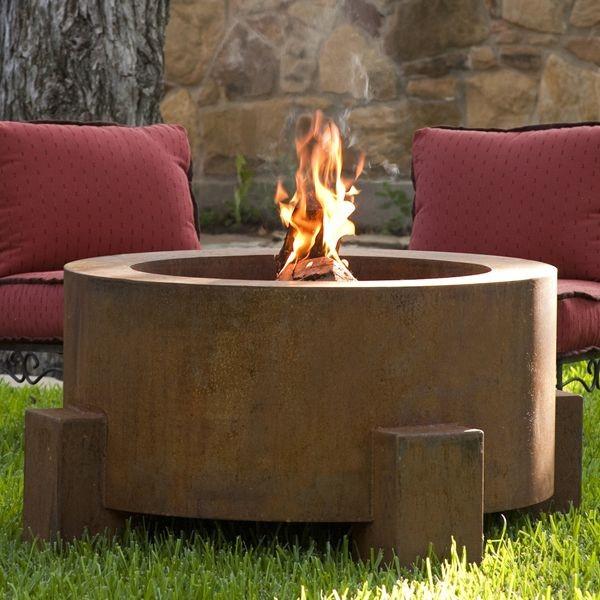 round outdoor steel fire pit