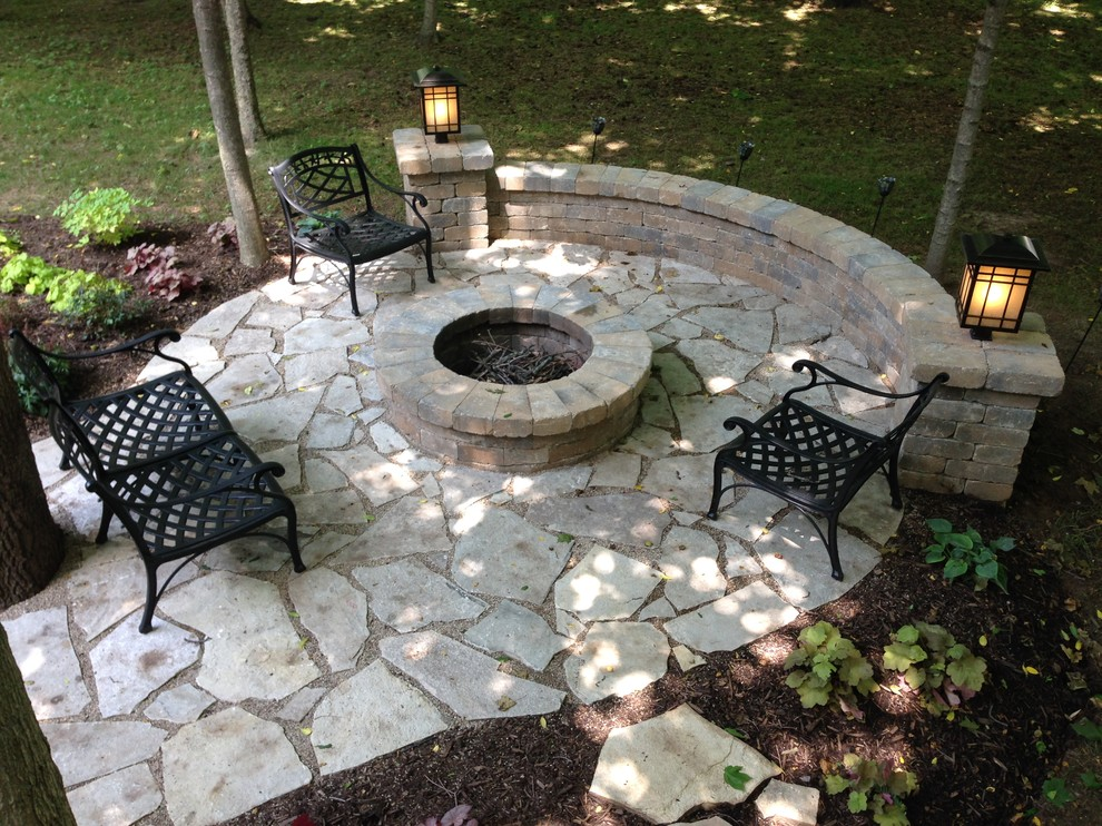 salt lake flagstone patio with fire pit