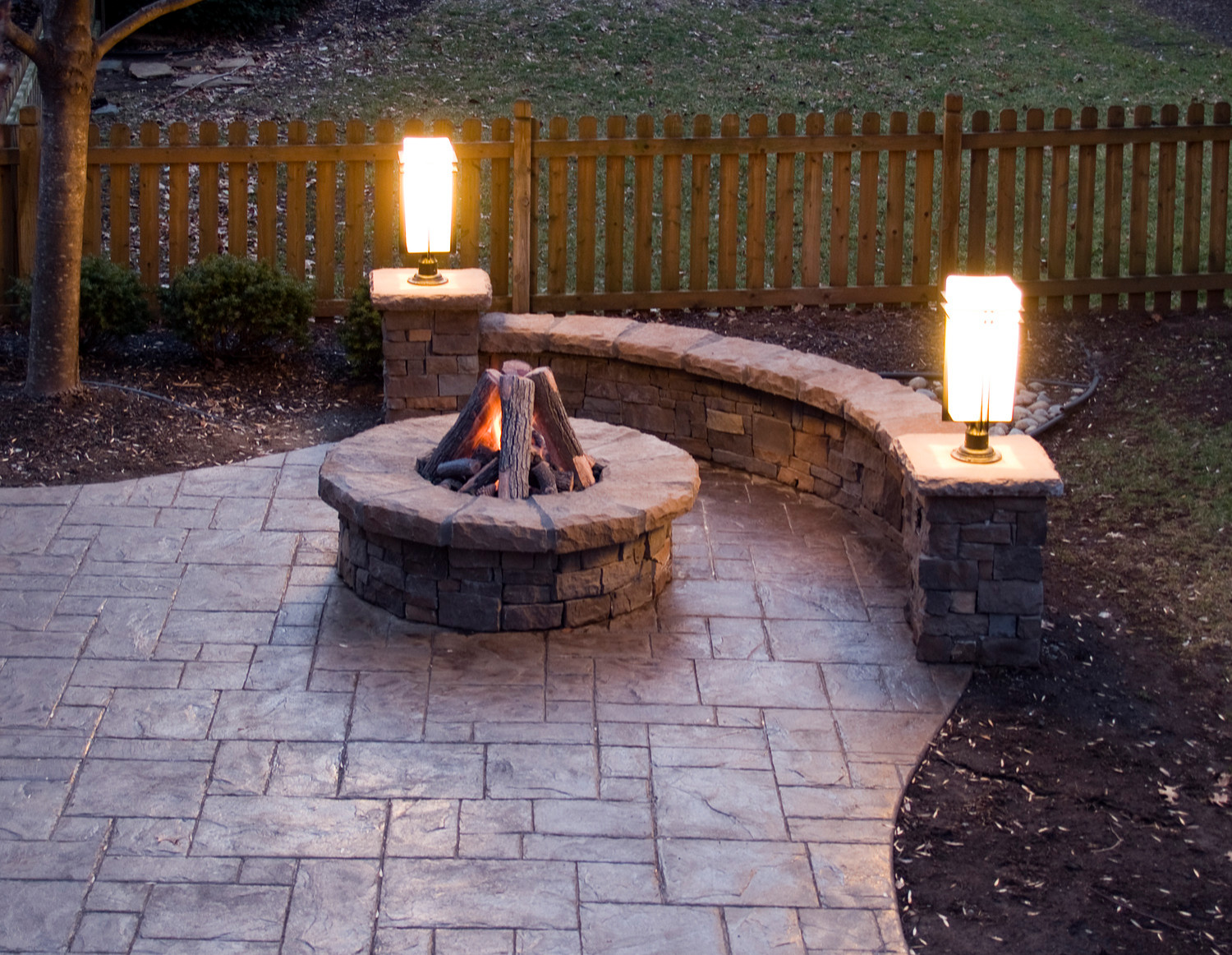 stamped concrete patio gas fire pit