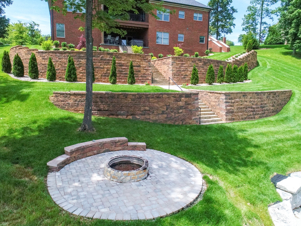 two tier retaining wall traditional