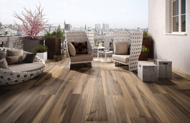 wood look tile transitional patio