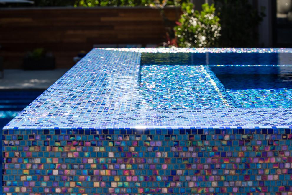 iridescent glass tile spa detail