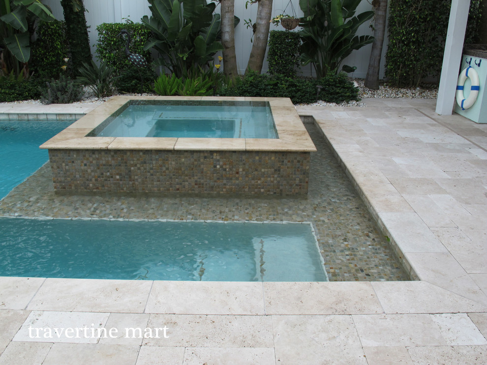 ivory travertine pool deck pavers and
