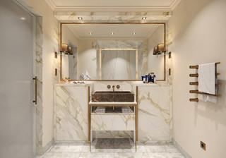 salle de bain avec un sol en marbre