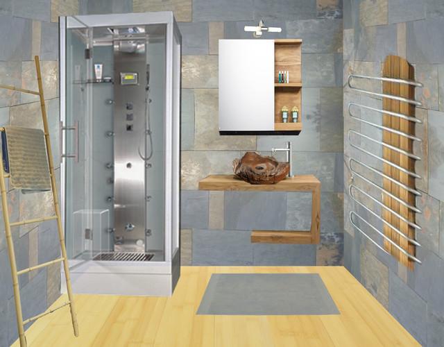 une salle de bain neuve au style nature