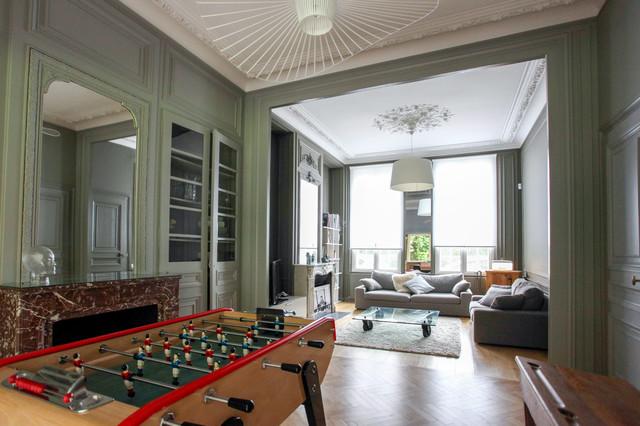 Rehabilitation D Une Maison De Maitre Salon Classique Chic Transitional Living Room Lille By Map Rehabilitation Agencements Houzz