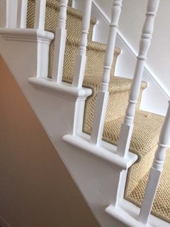 Beige Carpet Installation To Stairs Rustic Staircase London   Beige Carpet On Stairs   Living Room   Art Deco   Design   Pattern   Builder Grade