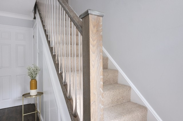 Contemporary Staircase With Clear Cut Spindles Traditional   Clear Handrails For Stairs   Steel   Clear Acrylic   Wood   Riser   Metal