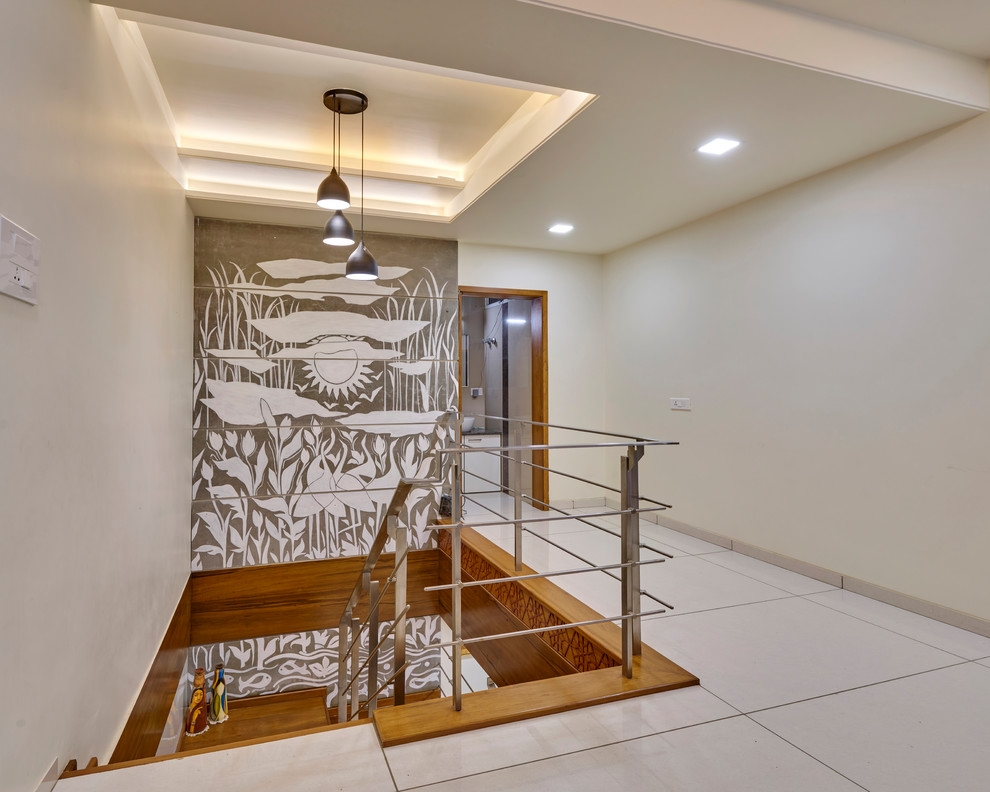 Duplex Flat Contemporary Staircase Other By Culturals | Duplex House Staircase Wall Design | Contemporary | Textured | Apartment Duplex | Fancy | Stair Wall Paint