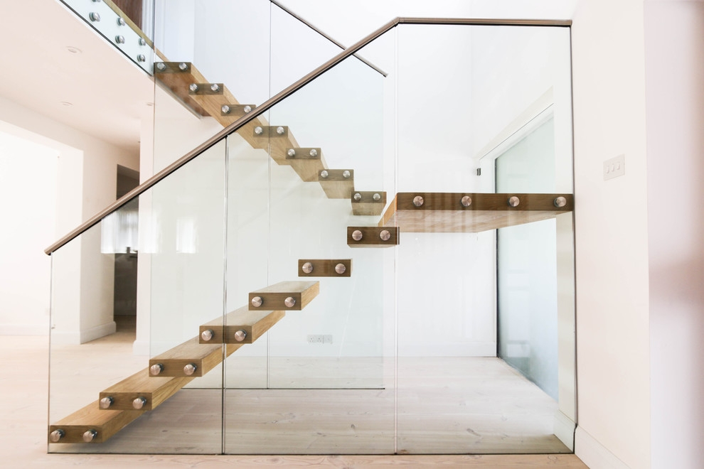 Floating Staircase With Thick Treads And A Glass Balustrade | Floating Stairs With Glass Railing | Duplex Balcony | Combination Glass | Glass Balustrade | Crystal Handrail | Innovative Glass