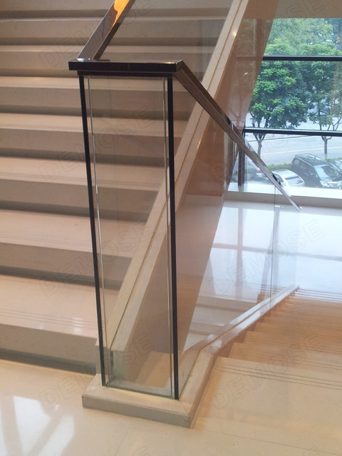 Glass Stair Railing Modern Staircase Other By Foshan   Modern Glass Stair Railing   Dark Wood   Banister   Wall Mounted   Cost   Basement