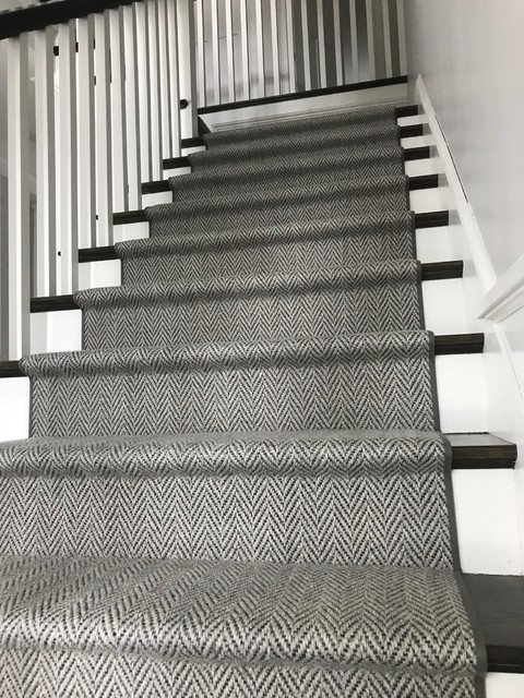 Grey Herringbone On Dark Stairs Hollywood Style Staircase Boston By The Carpet Workroom Houzz Uk