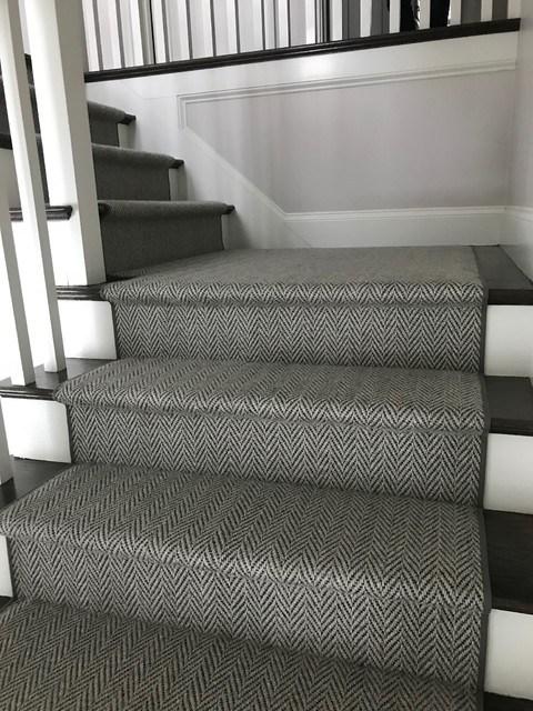 Grey Herringbone On Dark Stairs Hollywood Style Staircase | Grey Herringbone Carpet Stairs | Antelope | Victorian | Middle Stair | Roger Oates | Blue