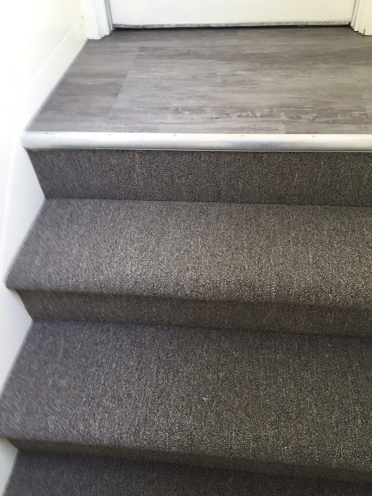 Lvt Landing And Carpeted Stairs Modern Staircase Other By   Vinyl And Carpet Stairs   Thin   Indoor   Light   Low Pile   Laminate