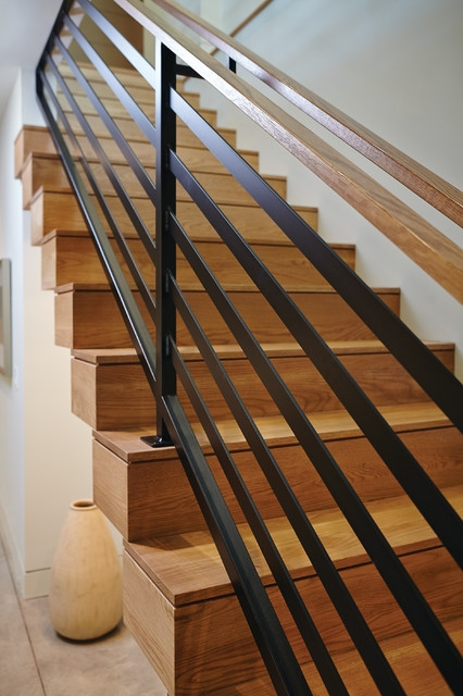 Mid Century Modern Midcentury Staircase Grand Rapids By | Mid Century Modern Stair Handrail | Wrought Iron | Basement | Bannister | Modern Style | Contemporary Curved Staircase
