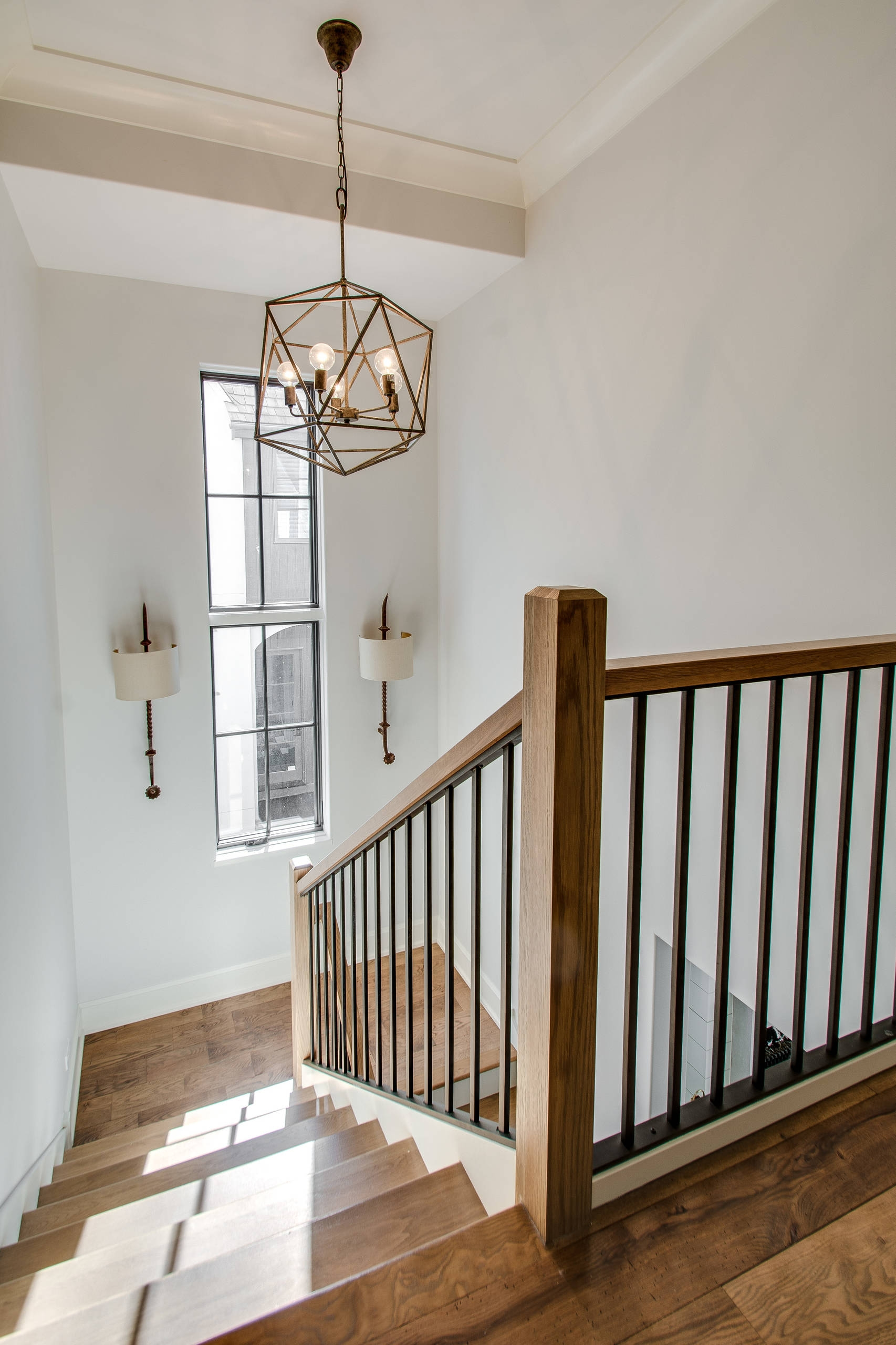 75 Beautiful Farmhouse Staircase Pictures Ideas September | Modern Farmhouse Stair Railing | Contemporary | Design Small House | Simple 2Nd Floor Railing Wood Stairs Iron Railing Design | Vintage Farmhouse | Wire