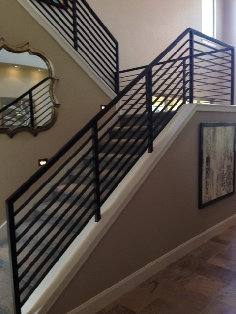 Modern Stair Railings Contemporary Staircase Austin By San | Modern Stair Rails Indoor | Beautiful | Unique Fancy Stair | Wooden | Industrial | Flat Bar