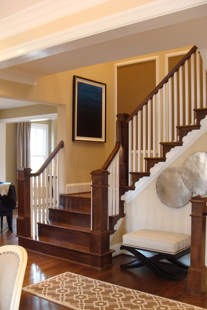 Oak Stairs With Box Newels And Square White Balusters   White Handrails For Stairs Interior   Grey Treads   Safety   Richard Burbidge   Ship Lap   Aluminum