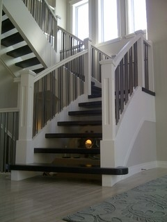 Paint Grade Unsupported Stringers With Solid Maple Treads | Solid Maple Stair Treads | Soft Maple | Stair Parts | Risers | Red Oak Stair | Hardwood Floors