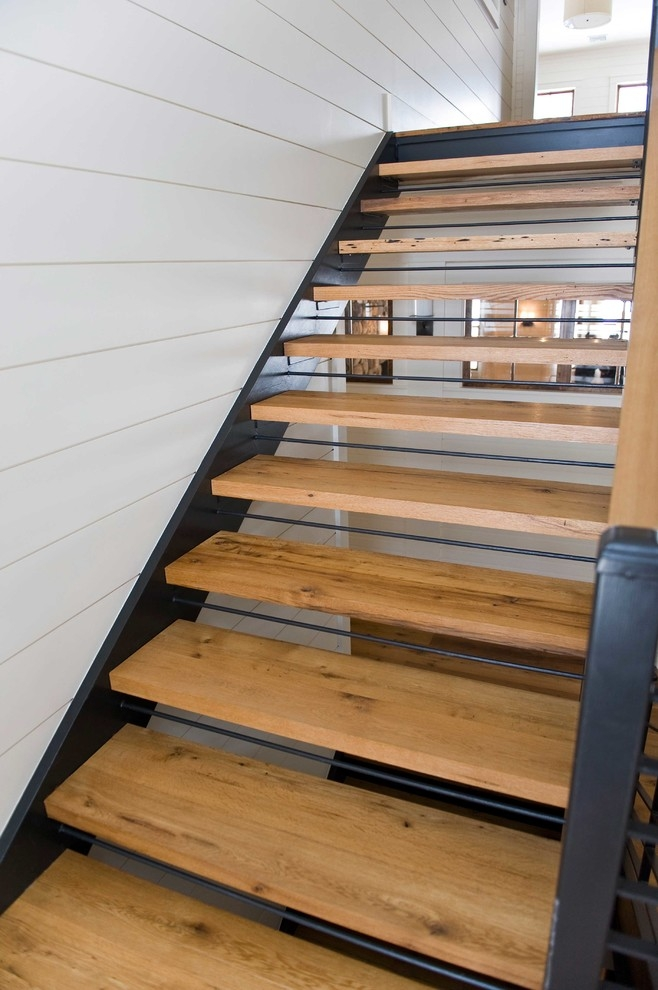 Reclaimed White Oak Stair Treads Staircase Portland Maine By   White Oak Stair Treads   Modern Farmhouse   Wooden   Solid Oak   Wood Stair   Custom