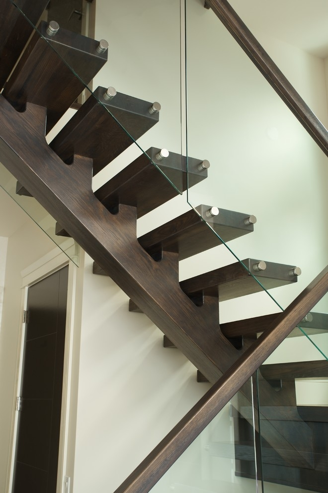 Solid White Oak Mono Stringer Modern Staircase Edmonton By   White Wood And Glass Staircase   Design   70'S   Thick Solid Oak Stair   Bannister   Indoor Glass