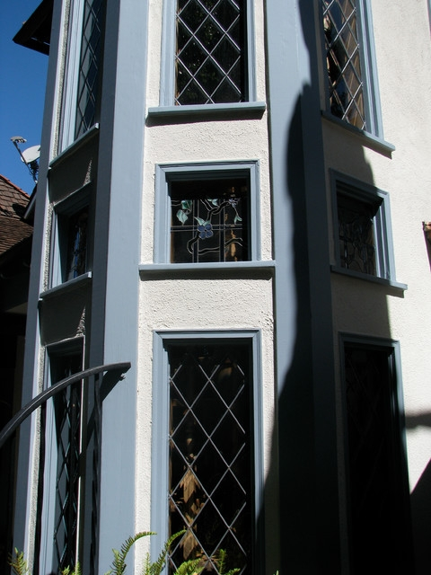 Staircase Stair Tower Windows Exterior View Traditional | Staircase Window Design Exterior | Round Shape Window | Car Parking | 2Nd Floor House Front Elevation | Section Window | Corner Window