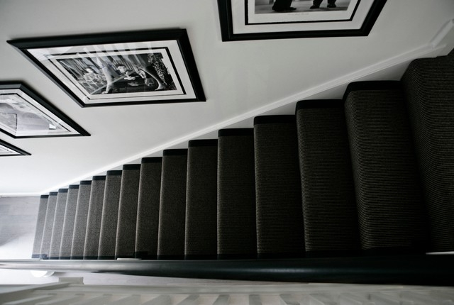 The Townhouse Contemporary Staircase London By Bailey | Dark Carpet On Stairs | Gray | Monochrome | Wall | Modern | Metal Bar On Stair